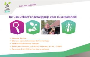 Jan Dekker onderwijsprijs voor duurzaamheid